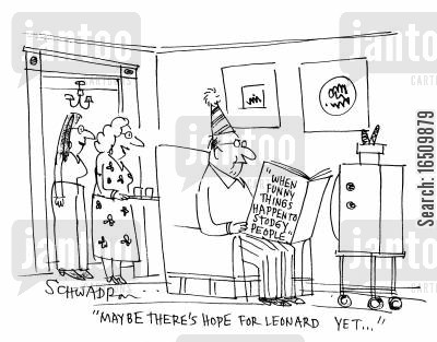 fat husband cartoon humor: 'Maybe there's hope for Leonard yet...' says wife, looking at husband reading a book called 'When funny things happen to stodgy people.'