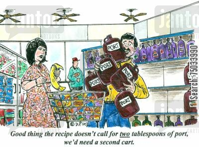 port cartoon humor: 'Good thing the recipe doesn't call for two tablespoons of port, we'd need a second cart.'