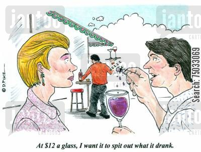 stewards cartoon humor: 'At $12 a glass, I want it to spit out what it drank.'