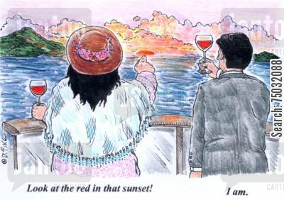sunset cartoon humor: A traveler comments on the red in the sunset. A wine drinker misunderstands, thinking the traveler is referring to the red wine.