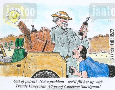 adventure cartoon humor: 'Out of petrol? Not a problem--we'll fill her up with Trendy Vineyards' 40-proof Cabernet Sauvignon.'