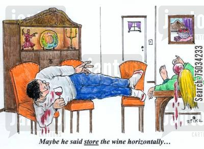 stain cartoon humor: 'Maybe he said store the wine horizontally...'