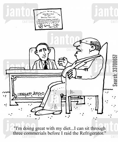 binge eater cartoon humor: 'I'm doing great with my diet...I can sit through three commercials before I raid the Refrigerator.'