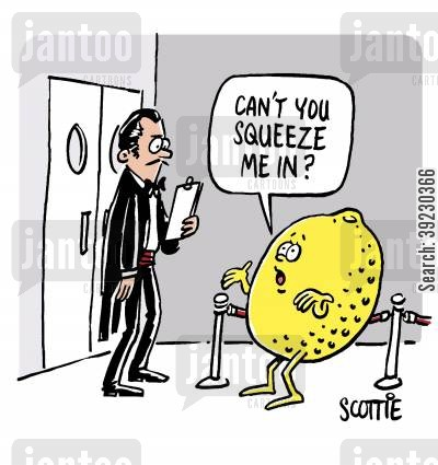 bouncer cartoon humor: 'Can't you squeeze me in?'