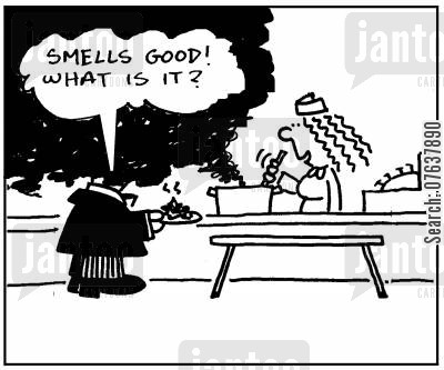 burnt foods cartoon humor: 'Smells good, what is it?'