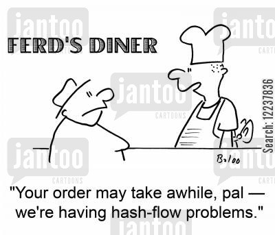 flow cartoon humor: FERD'S DINER 'Your order may take awhile, pal - we're having hash-flow problems.'