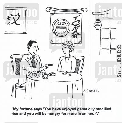 mass producing cartoon humor: 'My fortune says 'You have enjoyed genetically modified rice and you will be hungry for more in an hour.''