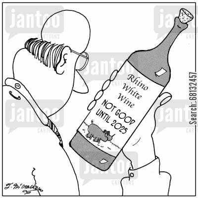 sell by date cartoon humor: Rhino Wine, Not good until 2025.
