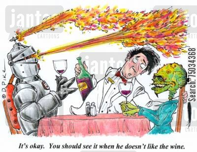 stewards cartoon humor: 'It's okay. You should see it when he doesn't like the wine.'