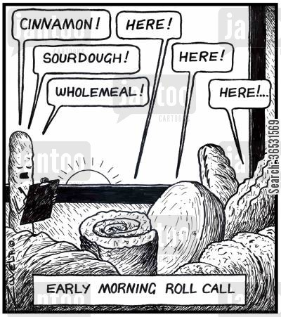 checklist cartoon humor: Early Morning Roll Call.