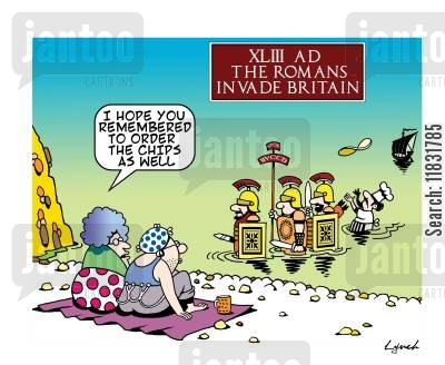 roman invasion cartoon humor: The Romans invade Britain.