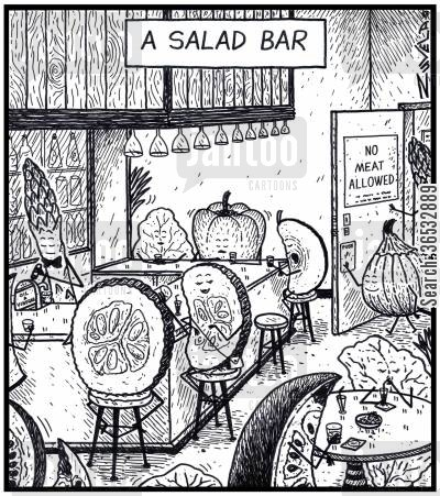 eating meat cartoon humor: A salad bar.