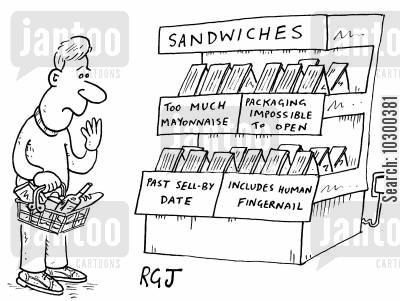 sandwich package cartoon humor: A choice of sandwiches