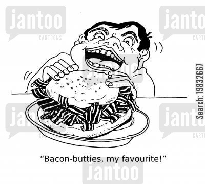 eating meat cartoon humor: 'Bacon-butties are my favourite!'