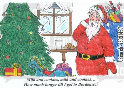 december cartoon humor: 'Milk and cookies, milk and cookies...How much longer till I get to Bordeaux?'