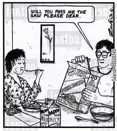 breakfast cereal cartoon humor: 'Will you pass me the saw please dear.' ( Fibreboard Cereal)