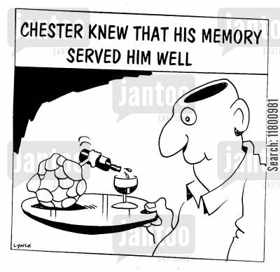 surrealists cartoon humor: Chester knew that his Memory served him well.