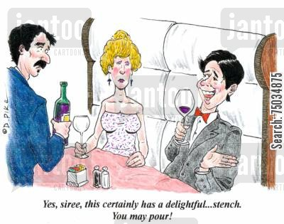 stench cartoon humor: 'Yes, siree, this certainly has a delightful...stench. You may pour!'