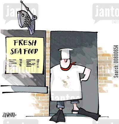 fishmongers cartoon humor: Fresh sea food