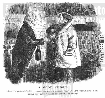 aged cartoon humor: Butler and his friend drinking in a cellar