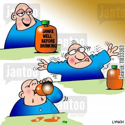 orange juice cartoon humor: Shake well before drinking.