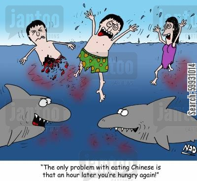 chinese cuisine cartoon humor: Two sharks are eating some Chinese people -