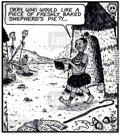 shepherds pie cartoon humor: 'Okay,who would like a piece of freshly baked Shepherd's pie?!...'