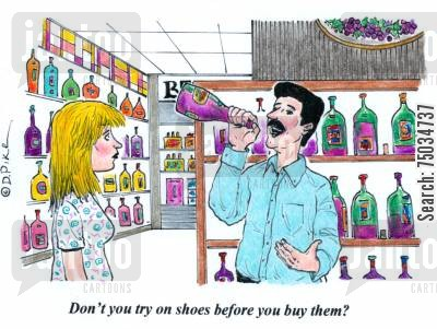 shoe shop cartoon humor: 'Don't you try on shoes before you buy them?'