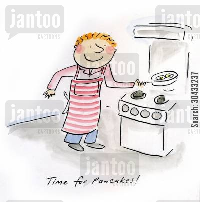 cooking pancakes cartoon humor: Time for pancakes!
