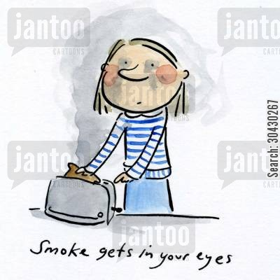 smoke gets in your eyes cartoon humor: Smoke gets in your eyes.