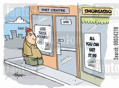 smorgasboard cartoon humor: Diet Centre vs Smorgasboard.