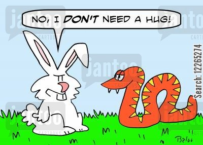 boa constrictors cartoon humor: 'No, I DON'T need a hug.'
