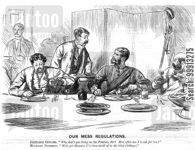 consumption cartoon humor: Irritable officer asking waiter where the potatoes are