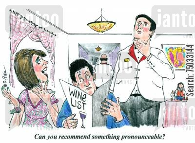 speech impediment cartoon humor: 'Can you recommend something pronounceable?'