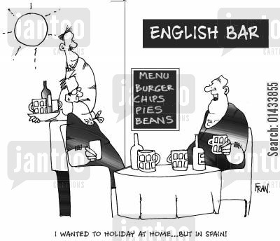 british tourists cartoon humor: I wanted to holiday at home...But in Spain.