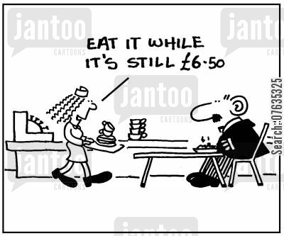 hot meal cartoon humor: Eat it while it's still £6.50.