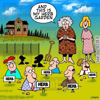 herb cartoon humor: Herb garden
