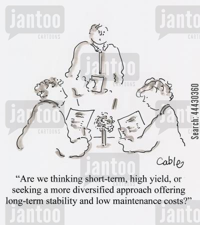 approach cartoon humor: 'Are we thinking short-term, high yield, or seeking a more diversified approach offering long-term stability and low maintenance costs?'