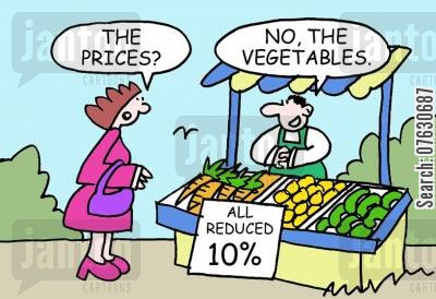 market stalls cartoon humor: All reduced 10...The prices? No, the vegetables.