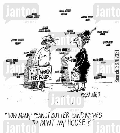 peanut butter sandwiches cartoon humor: 'How many peanut butter sandwiches to paint my house?'