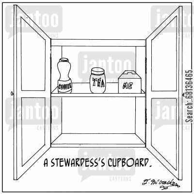 hot beverage cartoon humor: 'A Stewardess's Cupboard.' On a shelf are a Jar of COFFEE, a tin of TEA, and a box of ME.