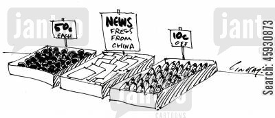 press release cartoon humor: News fresh from China.