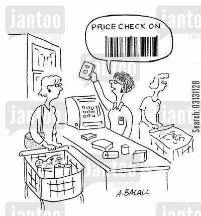 check outs cartoon humor: Price check on (barcode)!