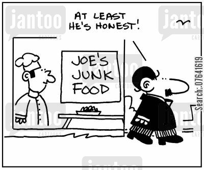 advertises cartoon humor: 'At least he's honest.'