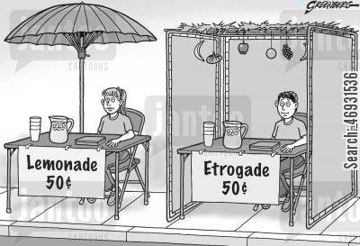 drinks stall cartoon humor: Lemonade and Etrogade Stalls