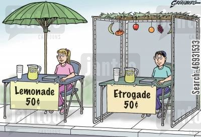lemonade stalls cartoon humor: Lemonade and Etrogade Stands