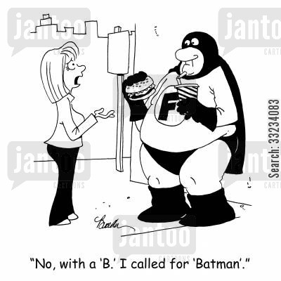 crime fighter cartoon humor: 'No, with a 'B.' I called for 'Batman'.'