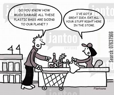 environmental concern cartoon humor: 'Do you know how much damage all these plastic bags are doing to our planet.'