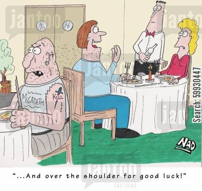 superstitious cartoon humor: '...And over the shoulder for good luck!'