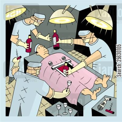 operated cartoon humor: Surgeons taking wine bottles out of patient's belly .
